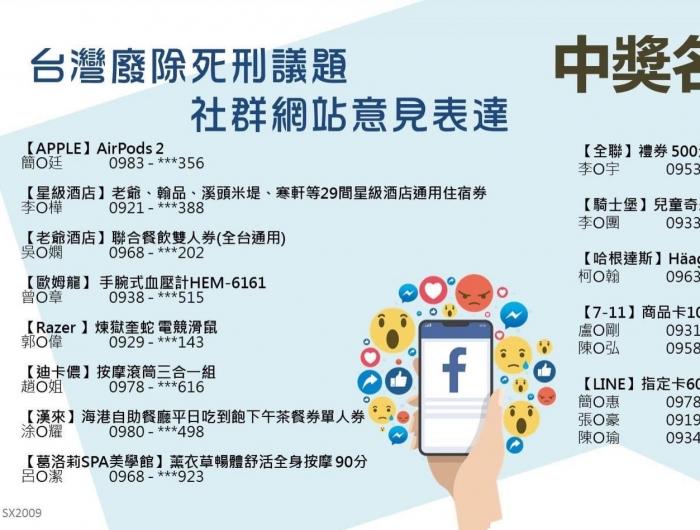 得獎名單—台灣廢除死刑議題社群網站意見表達